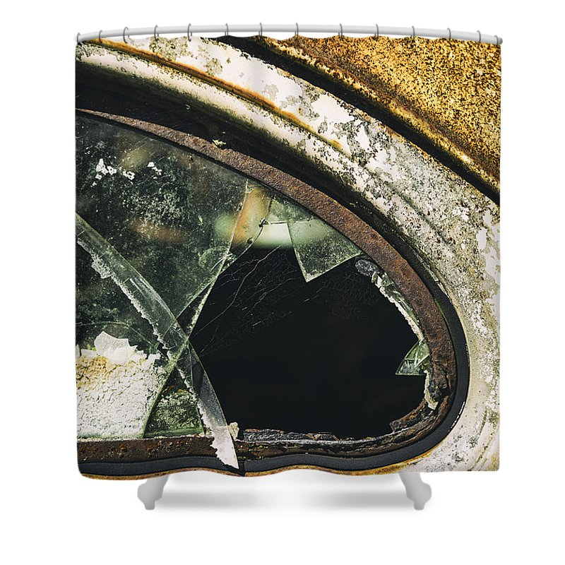 Abandoned Shower Curtain featuring the photograph Broken Window On A Rusty Scraped Classic Car by Russ Dixon