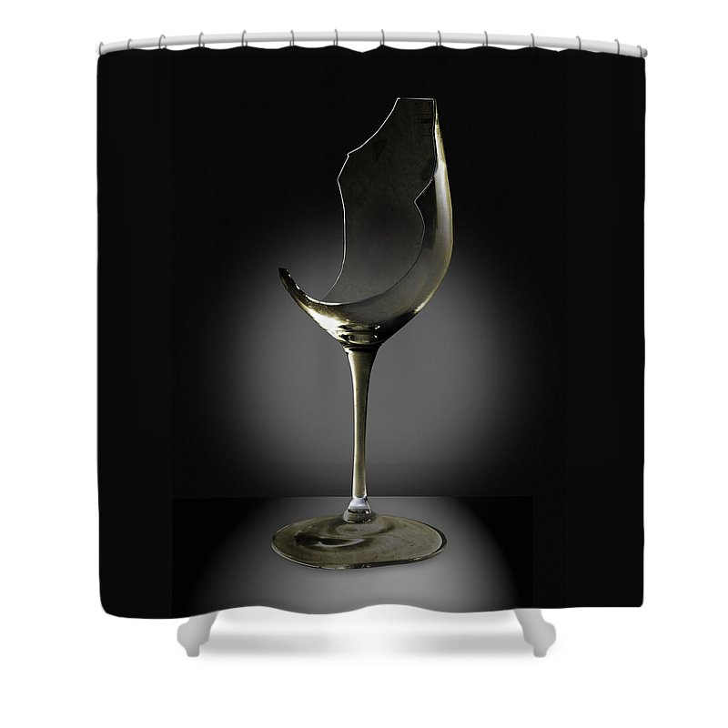 Glassware Shower Curtain featuring the photograph Broken Wine Glass by Yuri Lev