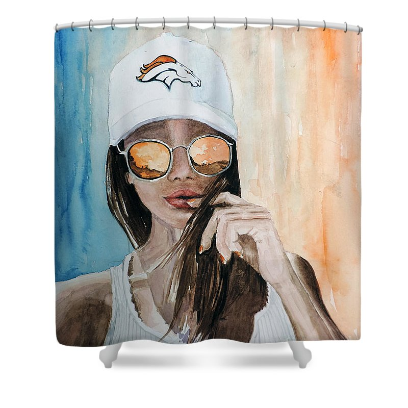 Denver Broncos Shower Curtain Featuring The Painting Lover By Richard Hahn