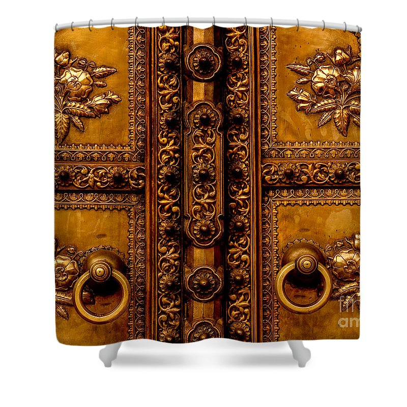 Bronze Shower Curtain featuring the photograph Bronze Door by M G Whittingham