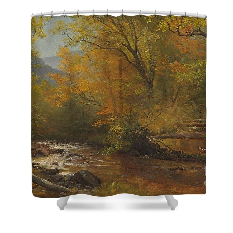 Landscape; Romantic; Romanticist; America; North America; American; North American; Landscape; Rural; Countryside; Wilderness; Scenic; Picturesque; Atmospheric; Brook; Babbling; Stream; River; Wood; Woods; Wooded; Forest; Autumn; Fall; Autumnal; Seasons; Calm; Peaceful; Tranquil Shower Curtain featuring the painting Brook In Woods by Albert Bierstadt