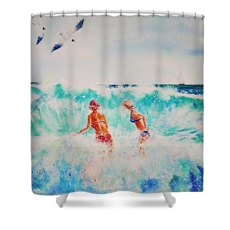 Surf Shower Curtain featuring the painting Brooke And Carey In The Shore Break by Tom Harris