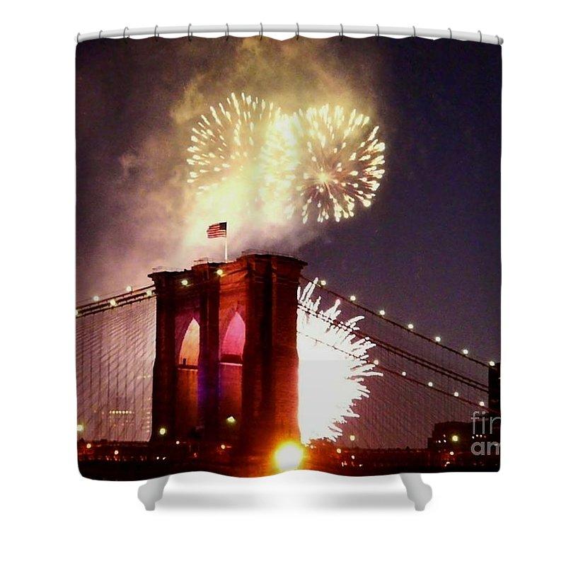 Brooklyn-bridge Shower Curtain featuring the photograph Brooklyn Bridge Celebration by Kendall Eutemey