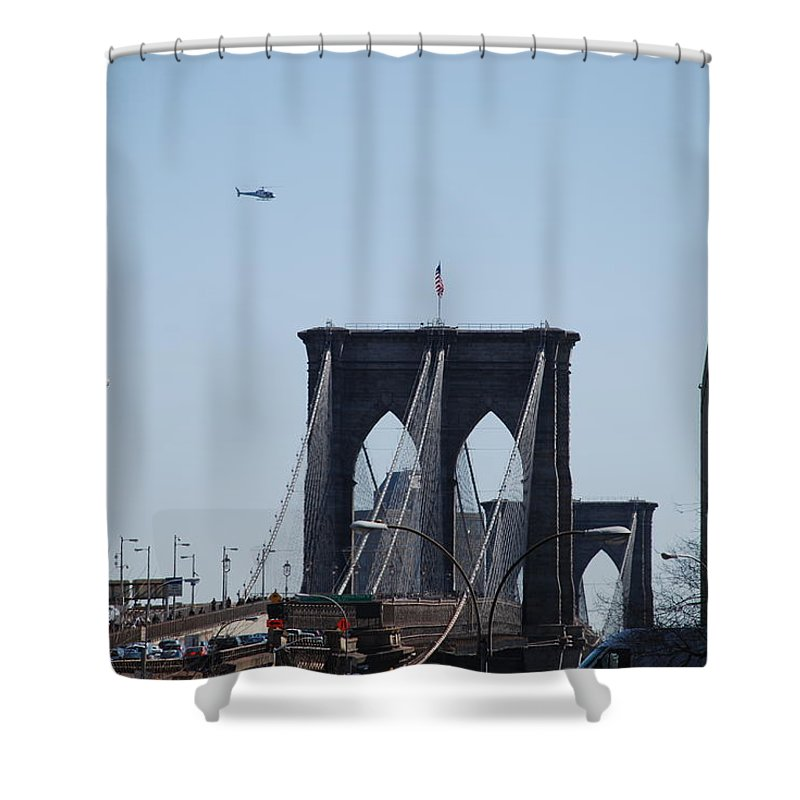 Architecture Shower Curtain featuring the photograph Brooklyn Bridge by Rob Hans