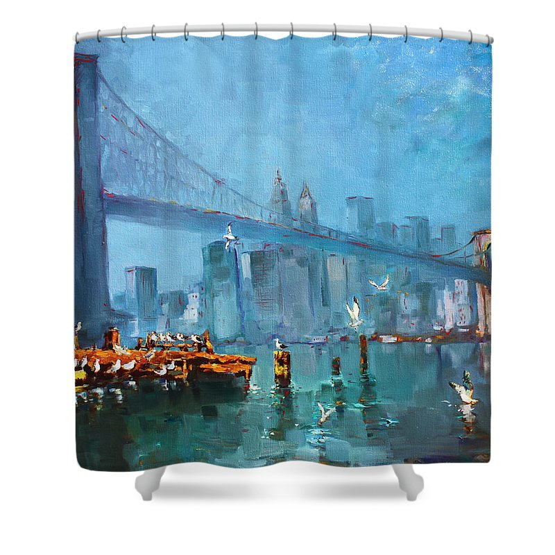 Landscape Shower Curtain featuring the painting Brooklyn Bridge by Ylli Haruni