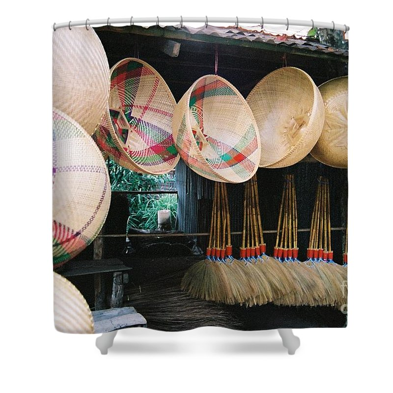 Baskets Shower Curtain featuring the photograph Brooms And Baskets by Mary Rogers