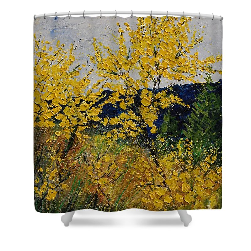 Flowers Shower Curtain featuring the painting Brooms by Pol Ledent