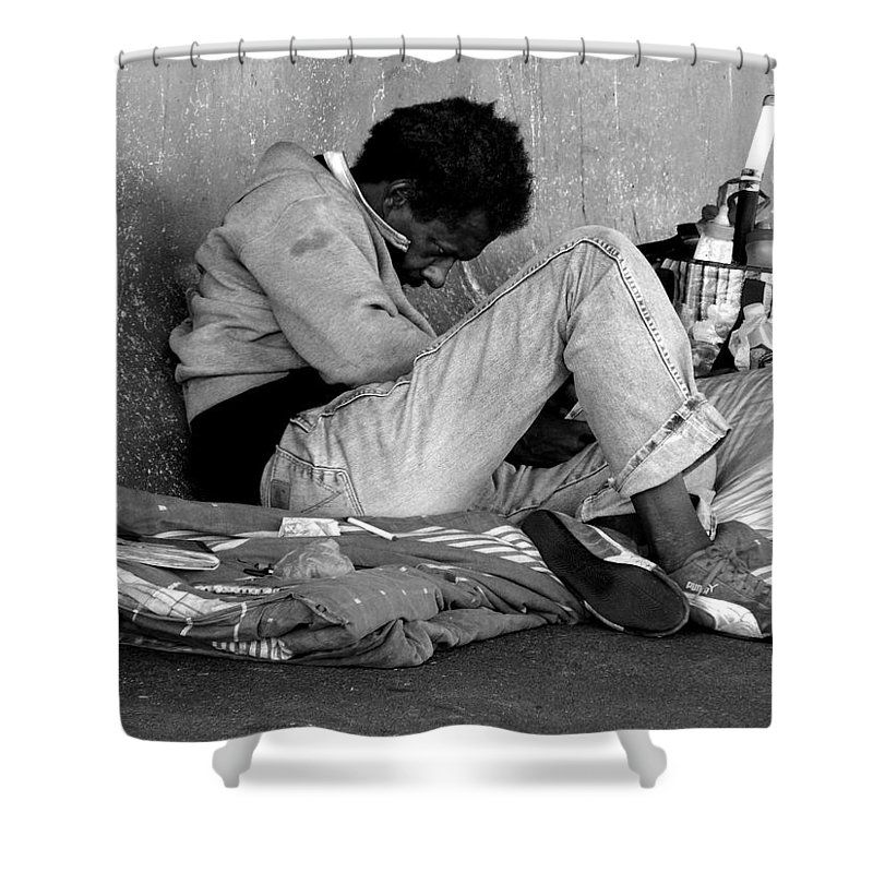 Homeless Shower Curtain featuring the photograph Brother Can You Spare A Dime by Kendall Eutemey