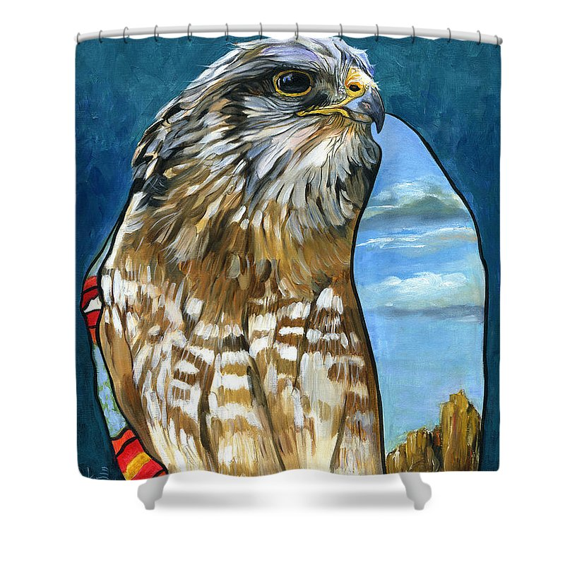 Hawk Shower Curtain featuring the painting Brother Hawk by J W Baker
