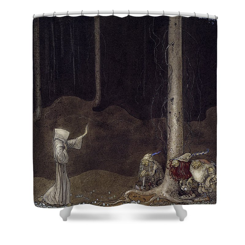 John Bauer Shower Curtain Featuring The Drawing Brother Saint Martin And Three Trolls By