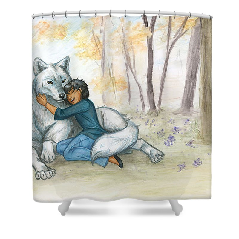 Wolf Shower Curtain featuring the painting Brother Wolf - Dream by Brandy Woods