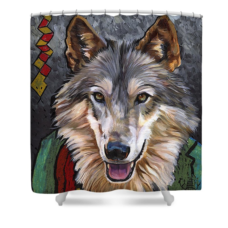 Wolf Shower Curtain featuring the painting Brother Wolf by J W Baker