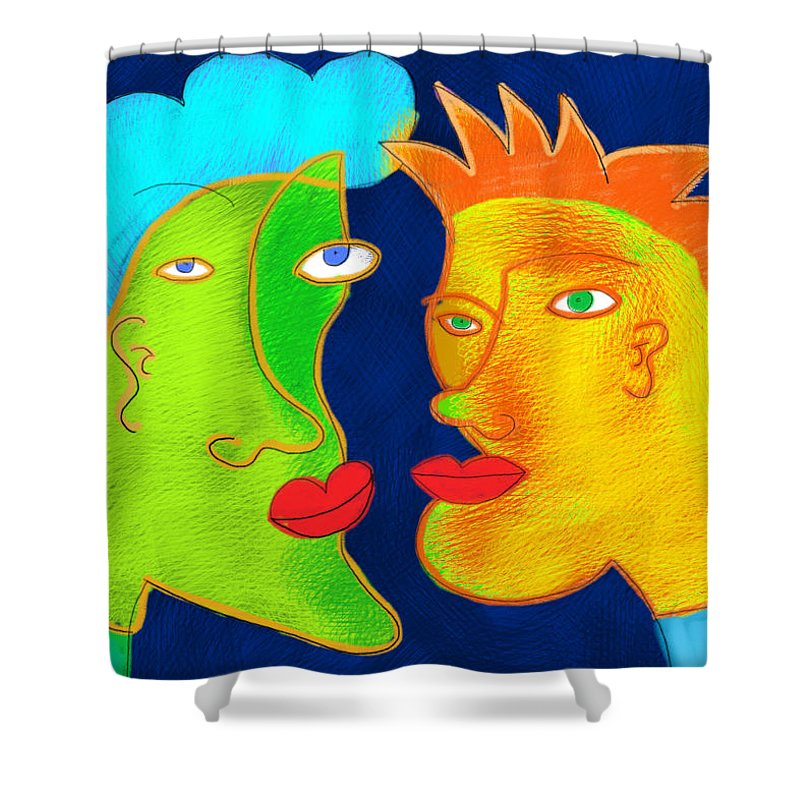 Art Shower Curtain featuring the painting Brothers by Maciej Mackiewicz