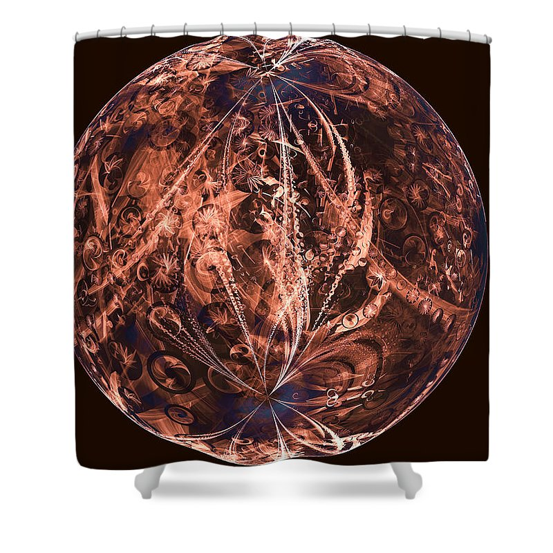 Artificial Shower Curtain Featuring The Digital Art Brown Planet By Ernst Dittmar