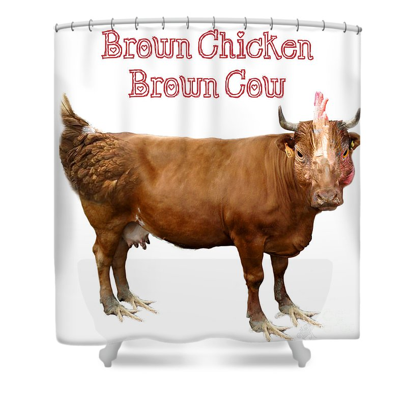 Twiddle Shower Curtain Featuring The Digital Art Brown Chicken Cow By Trie Michaud