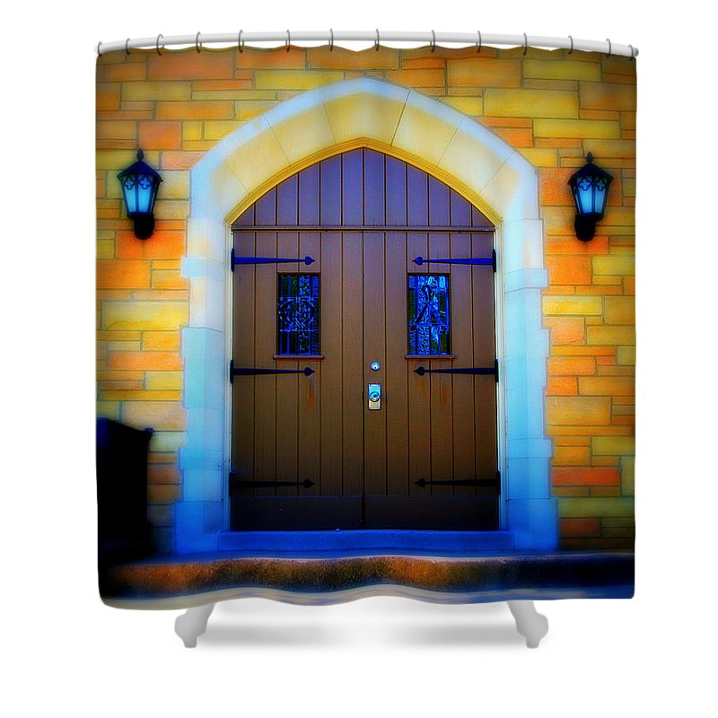 Door Shower Curtain featuring the photograph Brown Doors by Perry Webster