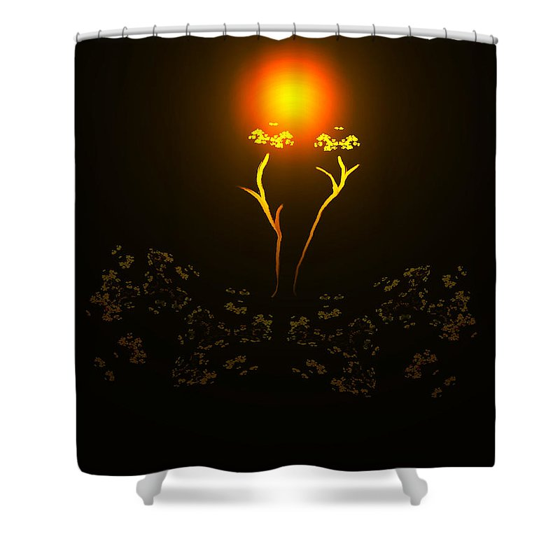 Abstract Digital Art Colorful Print Original Saskatchewan Artist Gold Yellow Brown Orange Collectors Gallery Images Flowers Plants Life Shower Curtain featuring the digital art Brown Eyed Susan by Andrea Lawrence