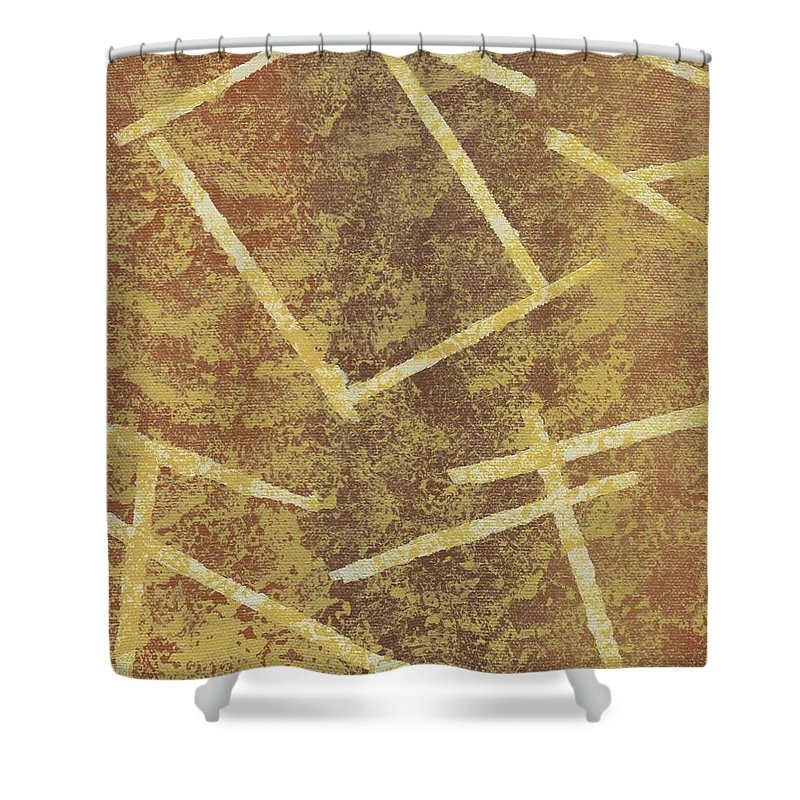 Tan Shower Curtain featuring the painting Brown Layers by Jill Christensen