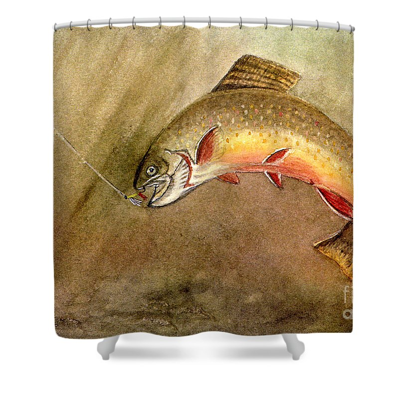 Trout Shower Curtain featuring the painting Brown Trout by Mary Tuomi