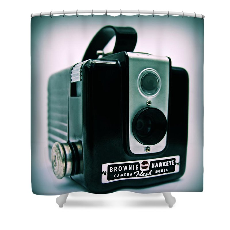 Camera Shower Curtain featuring the photograph Brownie Hawkeye by DJ Florek