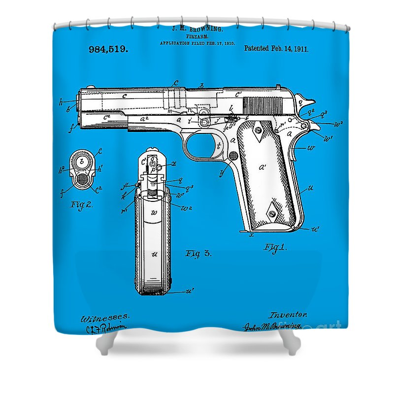 Browning Shower Curtain Featuring The Photograph Hi Power Pistol Patent By Art Kurgin