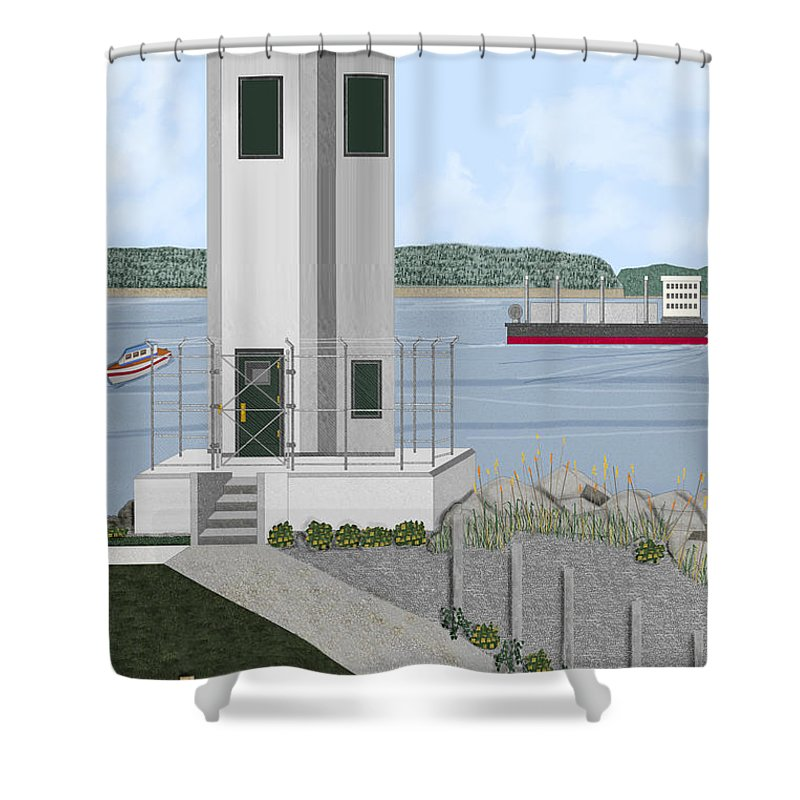 Lighthouse Shower Curtain featuring the painting Browns Point Lighthouse On Commencement Bay by Anne Norskog