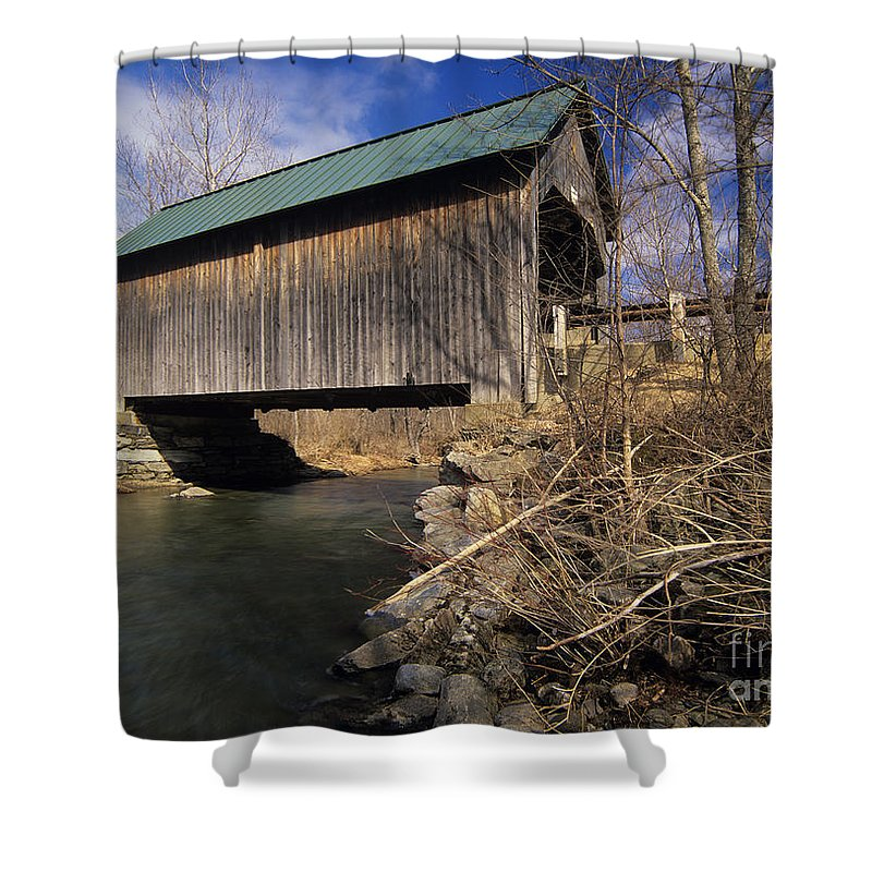 Bridge Shower Curtain featuring the photograph Brownsville Covered Bridge - Brownsville Vermont by Erin Paul Donovan