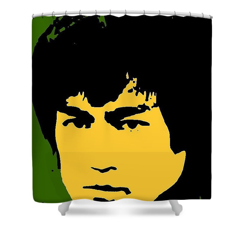 Kung-fu Shower Curtain featuring the mixed media Bruce Lee Pop by Paul Van Scott