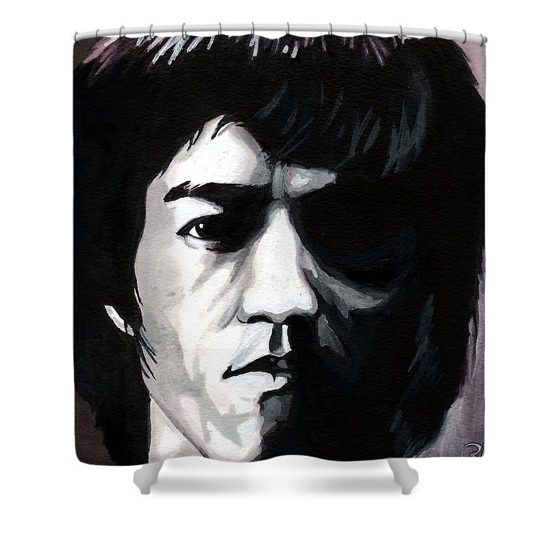 Bruce Lee Shower Curtain featuring the mixed media Bruce Lee Portrait by Alban Dizdari