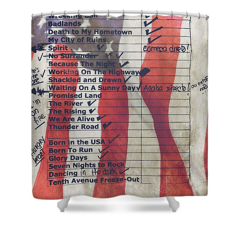 Bruce Springsteen Shower Curtain featuring the photograph Bruce Springsteen Setlist at Rock in Rio Lisboa 2012 by Marco Oliveira