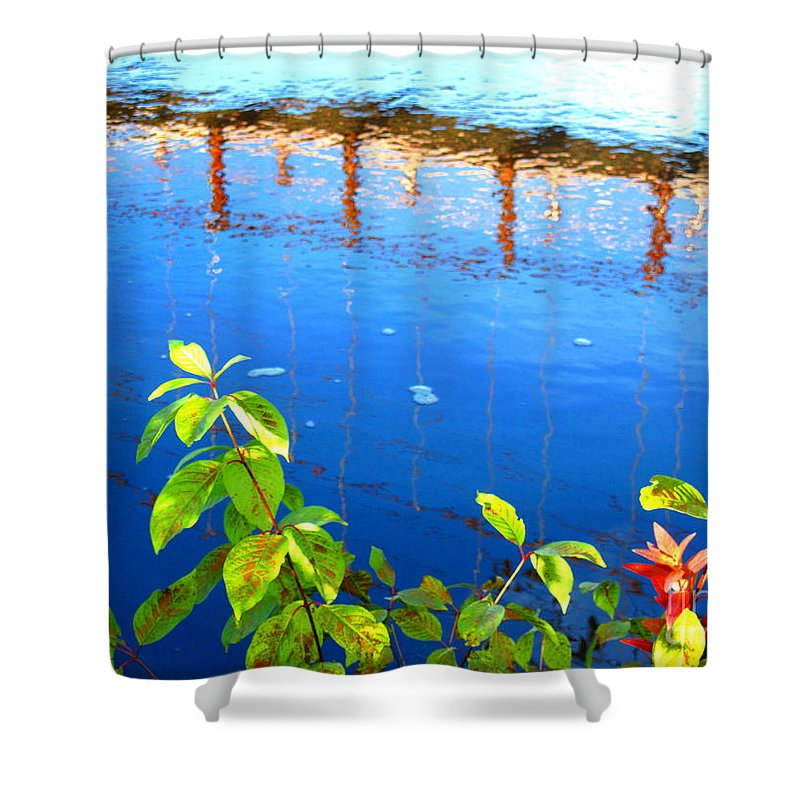 Water Shower Curtain featuring the photograph Brunswick Maine Walking Bridge by Sybil Staples