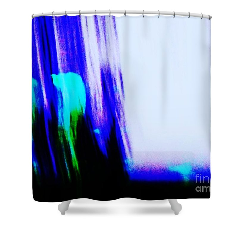 Abstract Shower Curtain featuring the painting Brush Of Color And Light by Eric Schiabor
