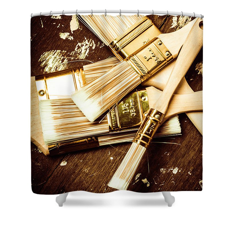 Paint Shower Curtain featuring the photograph Brushes Of Interior Decoration by Jorgo Photography - Wall Art Gallery