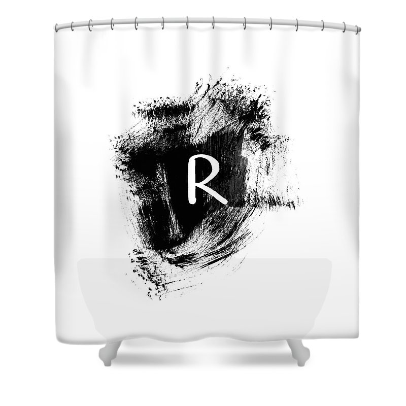 R Shower Curtain Featuring The Painting Brushtroke Monogram Art By Linda Woods