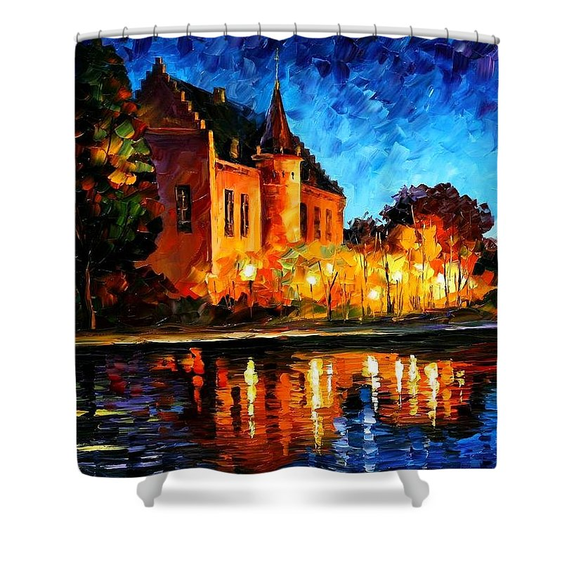 Afremov Shower Curtain featuring the painting Brussels - Castle Saventem by Leonid Afremov