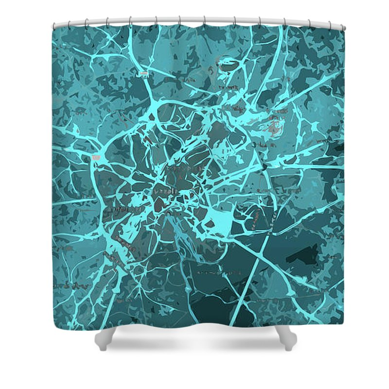Brussels Shower Curtain featuring the digital art Brussels Traffic Abstract Blue Map And Cyan by Drawspots Illustrations