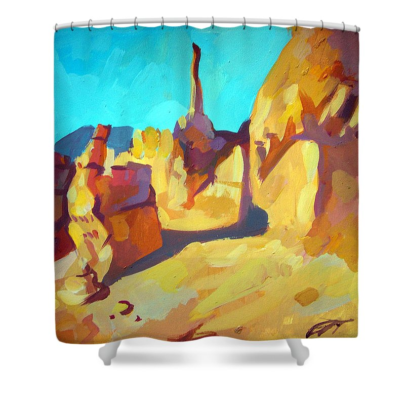 Landscape Shower Curtain featuring the painting Bryce Canyon by Filip Mihail