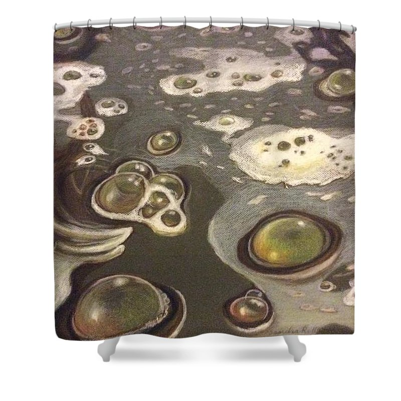 Bubbles Shower Curtain featuring the painting Bubble Boil and Trouble 1 by Art Nomad Sandra Hansen