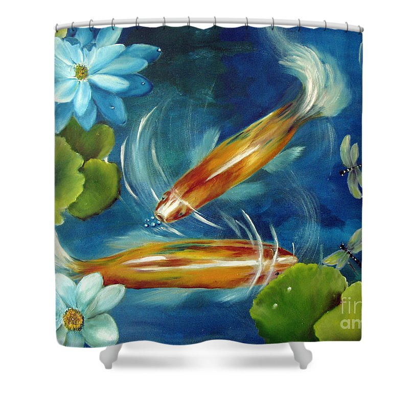 Koi Shower Curtain featuring the painting Bubble Maker by Carol Sweetwood