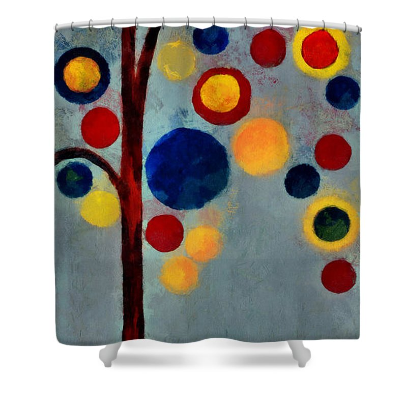 Tree Shower Curtain featuring the painting Bubble Tree - Dps02c02f - Right by Variance Collections