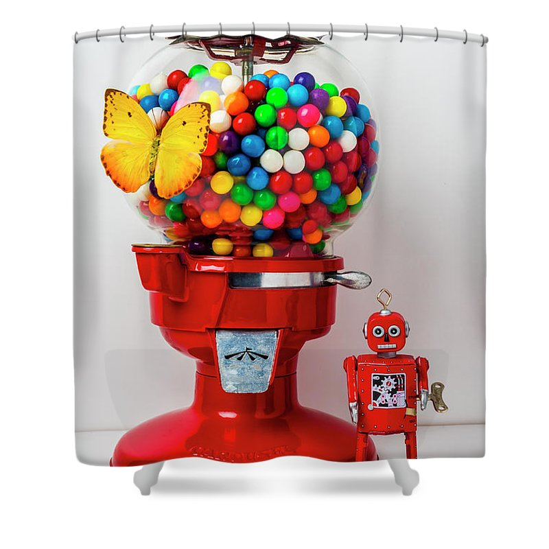 Bubblegum Machine Gum Shower Curtain Featuring The Photograph With Butterfly And Robot By Garry