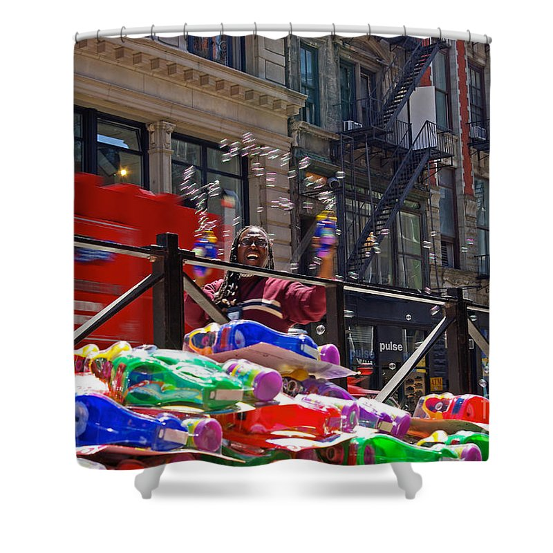 Bubbles Shower Curtain featuring the photograph Bubble Gun Seller In New York by Zal Latzkovich