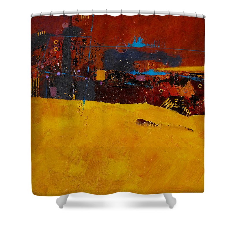 ruth Palmer Abstract Color Geometric Circles Irregular Lines Orange Coral Pink Blue Yellow Shower Curtain featuring the painting Bubbles Rising by Ruth Palmer
