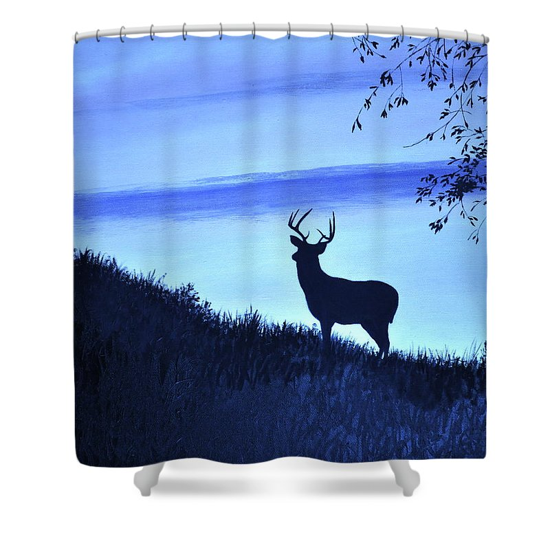 Buck Shower Curtain Featuring The Painting Silhouette In Blue By Penny Neimiller