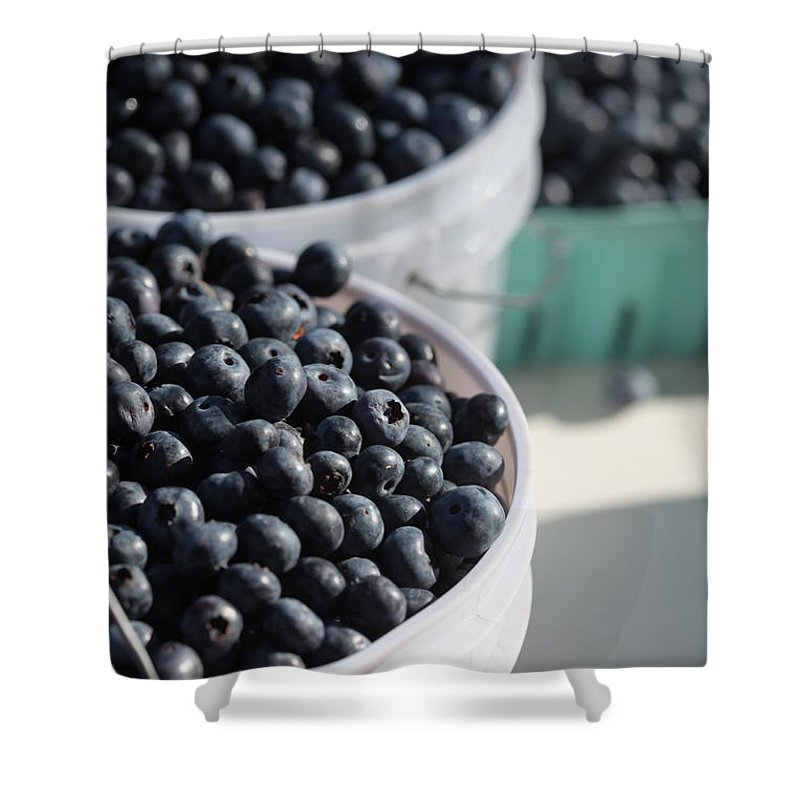 Blue Shower Curtain featuring the photograph Buckets Of Blue... by Nadine Rippelmeyer