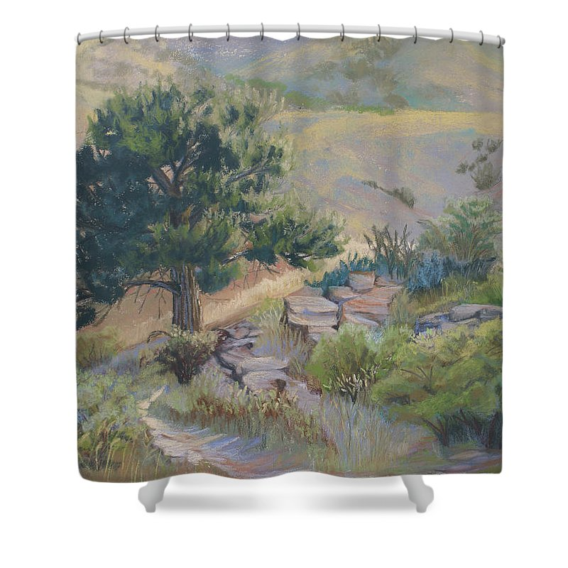 Pine Tree Shower Curtain featuring the painting Buckhorn Canyon by Heather Coen