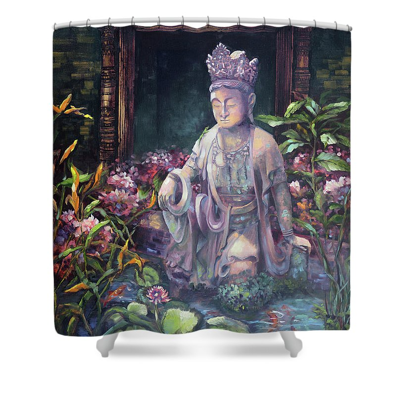 Budda Shower Curtain featuring the painting Budda Statue And Pond by David Bader