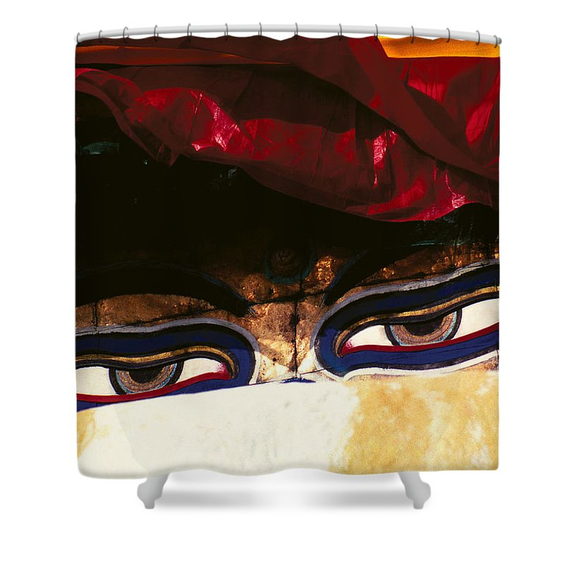 Eyes Shower Curtain featuring the photograph Buddha Eyes by Patrick Klauss