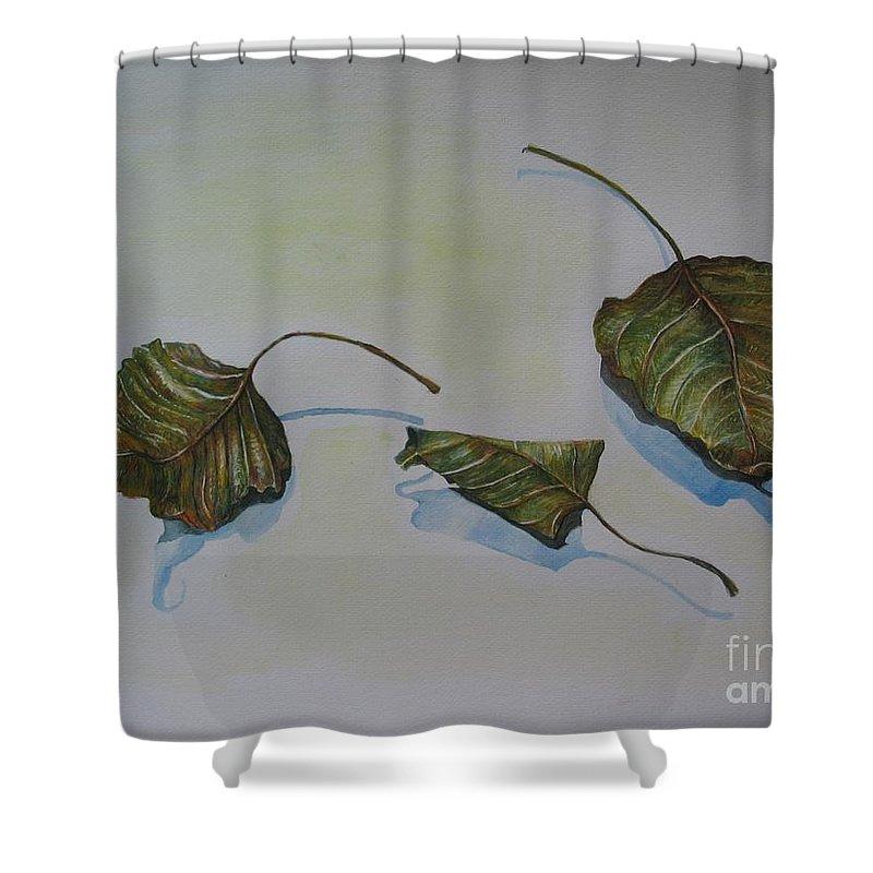 Buddha Shower Curtain featuring the painting Buddha Leaf 2 by Sukalya Chearanantana