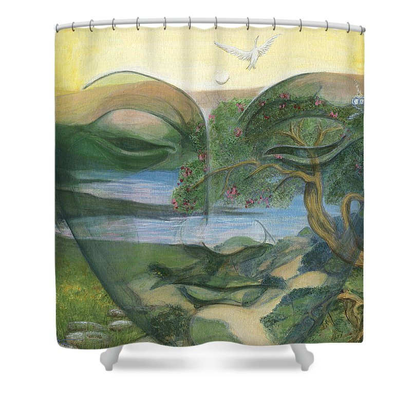 Children Shower Curtain featuring the painting Buddha by Nad Wolinska